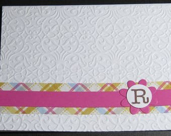 Single Monogram Note Card Set - Pink/Yellow Plaid