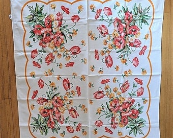 Startex Starfield Printed Tablecloth Lovely Harbingers of Spring with Poppy's and Marigolds 54 x 48 Inches Picnic Decor