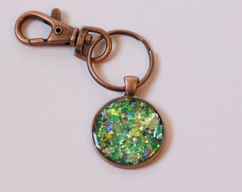 Sparkly Iridescent Keychain Green Yellow and Blue Sparkles in Resin