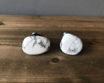 Howlite drawer/cabinet knobs (pair), rock knob, drawer knob *FREE SHIPPING*