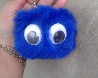 Pom pom keychain with eyes