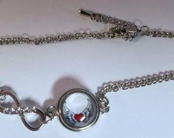 Mini Winged Heart Infinity bracelet