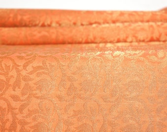 Indian Orange Brocade Fabric by the Yard Wedding Dress Banarasi Brocade Fabric Bridal Dress Material Sewing Crafting Fabric 44: Width