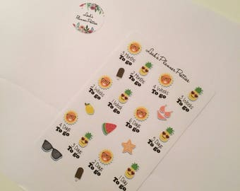 Holiday countdown// Countdown stickers// Summer holiday// Holiday// Planner stickers// Holiday planner// Happy planner// Kikki K// Filofax