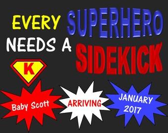Custom Superhero Baby Annoucement 11x14