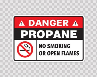 Sticker Decals safety sign Danger Propane. No Smoking Or Open Flames.  18633