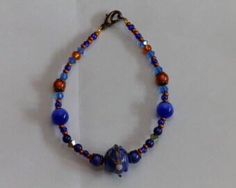 Navy/copper nickel aventurine and Swarovski Crystal bracelet
