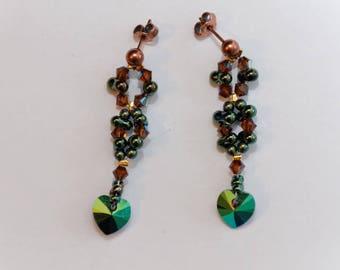 Brass nickel free heart iridescent green Swarovski crystal earrings
