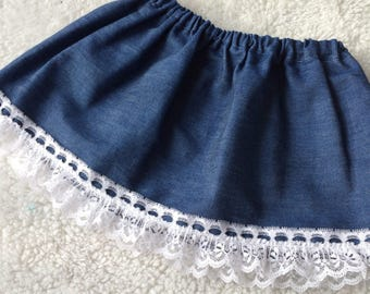 Baby Girl Denim Skirt Lace Trim