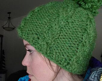 Green wool knitted hat