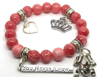 Kiss A Lot of Frogs, Frog Prince, You Never Know, Prince Charming Charm Beaded Bracelet