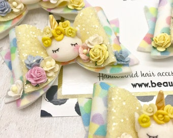 Spring Unicorn fabric & glitter Medium hair bow clip headband hair accessories nylon hair piece artisan