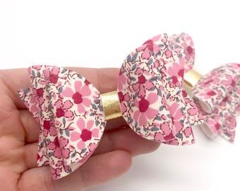 Liberty pink garden blooms flowers floral fabric Medium hair bow clip headband hair accessories