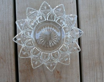 """Petal Clear Pressed Glass Bowl, Federal Glass Petal Clear Bowl, Vintage 5-3/4"""" Clear Pressed Glass Bowl, Vintage Small Clear Bowl,"""