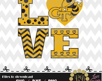 Love Georgia Tech hornets,svg,png,dxf,cricut,silhouette,college,jersey,shirt,proud,bama,oklahoma,svg,cut,university,football svg,bulldogs