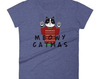 Meowy Catmas Christmas Cat lovers Women's short sleeve t-shirt