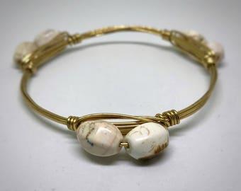 White Marble Barrel Beaded Bangle Bracelet