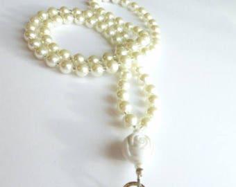 Beaded Lanyard, Pearl Badge Lanyard,Heart Lanyard Pearl Lanyard Necklace,Badge Holder, Glasses Holder