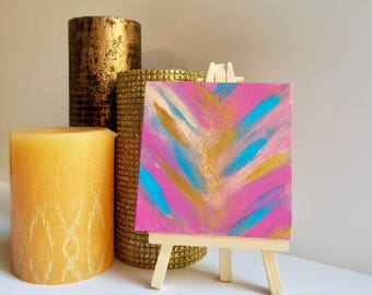 Small pink painting, mini Painting, mini art, tiny painting, tiny art, small canvas art, mini canvas art, 4x4 painting, silver painting