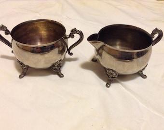 Silver Plated Creamer and Sugar Bowl