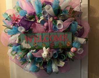 Welcome Easter wreath, Pink and blue wreath, Easter pink and blue