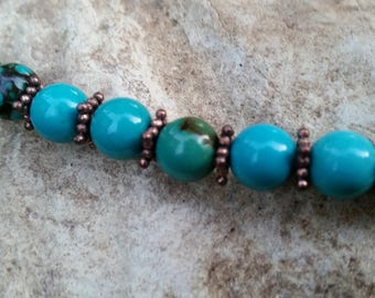 African Turquoise and Copper Necklace 24 Inches Long