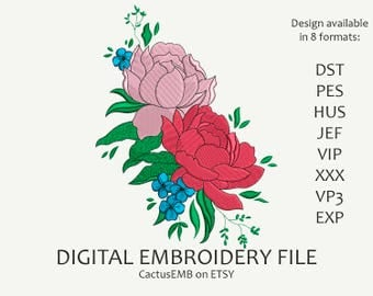 INSTANT DOWNLOAD - Peony Bouquet machine embroidery design. Flowers. Boho Style. Embroidery design