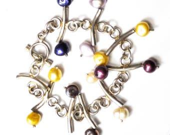 "Sterling Silver Bone Color Pearl Bar Chain Link Toggle 40mm Bracelet 7"""