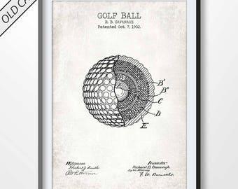 GOLF BALL poster, golf patent print, golf blueprint, golf illustration, golf wall art, golf decor, golf printable, pga, golfer gifts