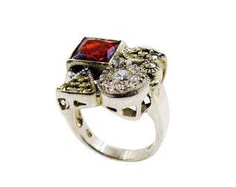 Silver ring with garnet, cubic zirconia, marcasite
