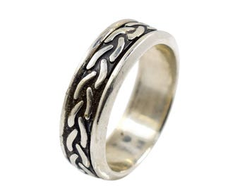Sterling silver band, celtic ring, wedding band