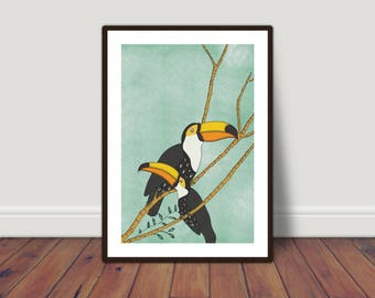 Toucan Illustration Print, A4 or A3 sizes. Wall Art, Home Decor.