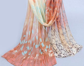 Coffee Women Design Printed Silk Soft Silk Chiffon Shawl Wrap- Wraps Scarf Scarves -Hijab