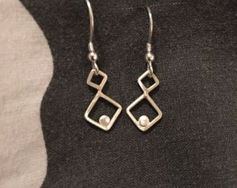 Sterling Silver Square Drop Earrings