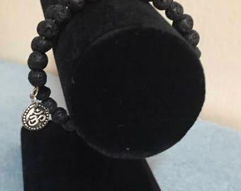 Memory wire lava beads bracelet