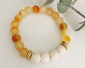 Yellow jade + white lava diffuser bracelet