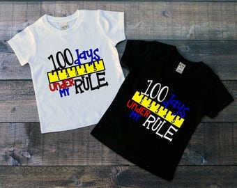 Children's 100 Day of School Tee Shirt, 100 Days Under My Rule, Kids 100th Day of School T-Shirt, Black White Tee, Infants, Toddler, Youth