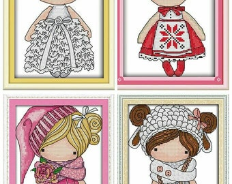 Cross Stitch Pattern  Kit,Doll Embroidery Kit,Kitchen Wall Deco Picture,Kid Room Wall Deco ,Embroidered Picture,Modern Cross Stitch,