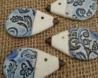 Four Quirky Handmade Ceramic Hedgehog Cabochons/Craft Supplies/Jewellery Making/Scrapbooking/Haberdashery.