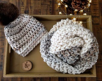 Infinity scarf in cream and soft Earth tones; Handmade, crocheted and so warm and soft.