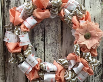 Coral, Arrows, and Burlap Chevron Wreath