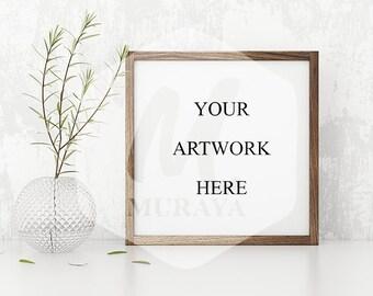 Wood Frame Mockup, Wood Square Frame, Styled Stock Photograpy, , PSD Mockup, Digital Item, Natural Lighting, Rustic Frame Mockup