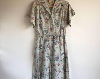Vintage Celery Green Short Sleeve Floral Day Dress Large