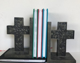 Vintage large bookends, set of 2 cross religious church book stops, weights