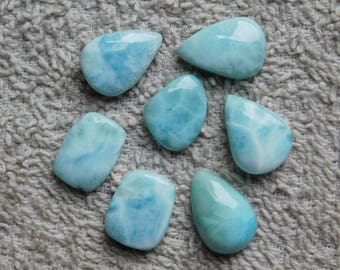 Lot ! Amazing Larimar loose gemstone Cabochons Very Gorgeous Designer Excellent Quality 100% Natural handmade Gemstone 77.45cts, 7 Pieces.