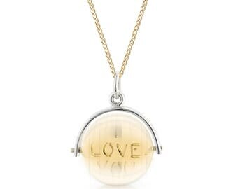 Spinning pendant etsy spinning i love you pendant mozeypictures Images