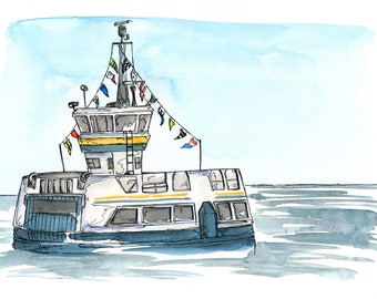 Halifax-Dartmouth Ferry, Watercolour and Ink PRINT