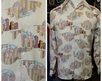 Vintage Polyester Geometric Button Down Shirt