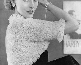 1950's Fringed Shrug, Bolero, Knitting Pattern.