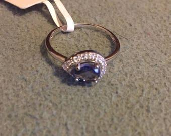natural tanzanite sterling silver ring